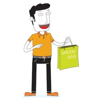 Uomo che mostra un sacchetto di plastica rispettoso dell'ambiente