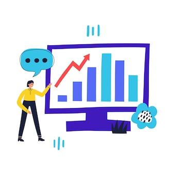 Uomo che mostra la crescita delle scorte sul computer concetto di analisi aziendale illustrazione piana di vettore disegnato a mano