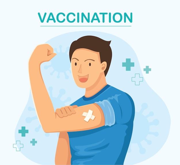 Uomo che mostra il concetto di vaccinazione vaccinata