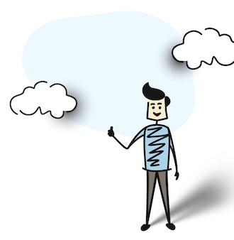 L'uomo mostra le mani pollici in su, illustrazione vettoriale di schizzo disegnato a mano del fumetto.