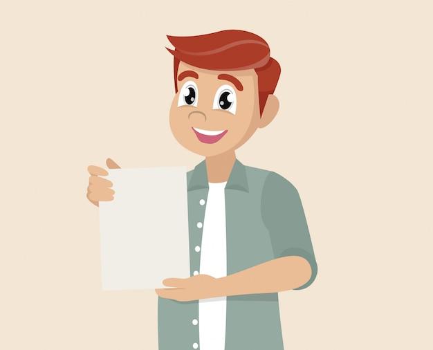 L'uomo mostra un documento con il contratto.