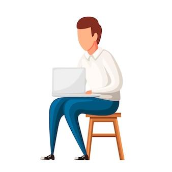 L'uomo si siede sulla sedia con il computer portatile. nessun carattere del viso. illustrazione su sfondo bianco