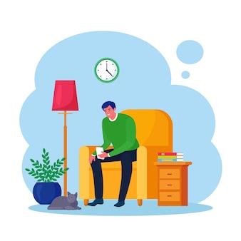 Uomo seduto sulla poltrona e utilizza lo smartphone per chattare