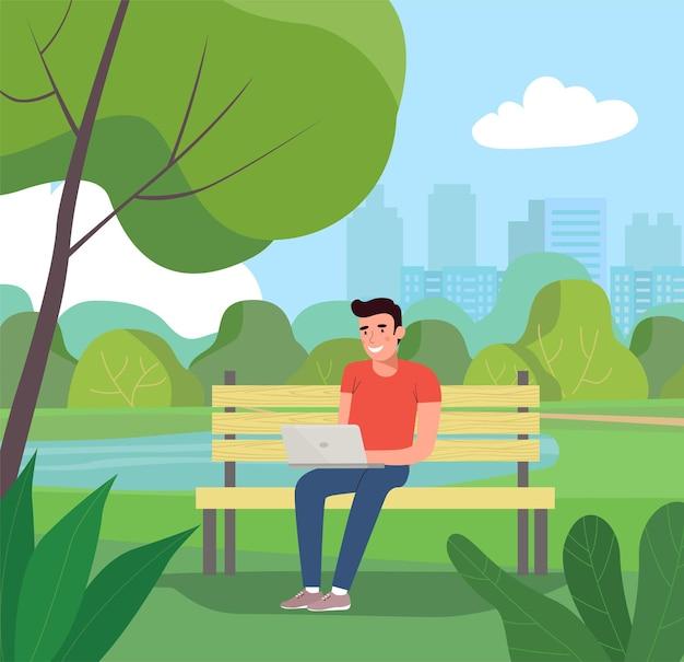 Uomo seduto sulla panchina con il taccuino.