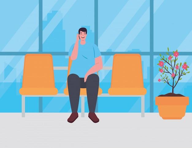 Uomo seduto in poltrona sul terminal dell'aeroporto, passeggero al disegno di illustrazione vettoriale terminal dell'aeroporto