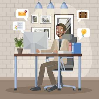 Uomo seduto sulla sedia e lavorando al computer alla scrivania in ufficio. uomo d'affari o manager in tuta sul posto di lavoro. illustrazione