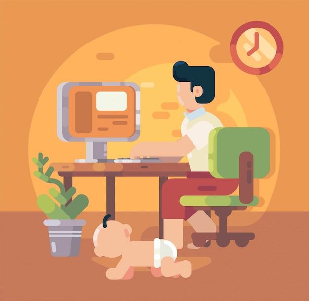 Equipaggi la seduta sulla sedia che lavora al computer portatile che lavora dalla casa. wfh. lavoro da casa. casa di lavoro libero professionista. illustrazione piatta vettoriale.