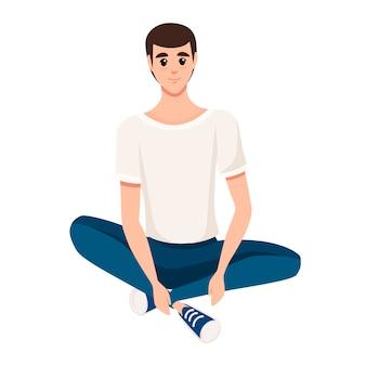 Uomo seduto sul pavimento illustrazione Vettore Premium