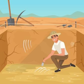 Uomo seduto in una fossa quadrata e spazzare lo sporco dalle ossa dello scheletro. scavi di antiche sepolture.