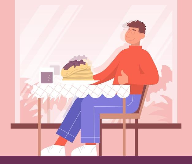 L'uomo seduto a un tavolo del ristorante si sta godendo il cibo un sacco di pancake nel piatto cosparsi di marmellata