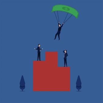 Uomo paracadutismo con dollaro sul podio