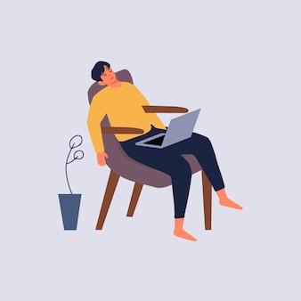 Uomo che dorme mentre era seduto con un computer portatile nell'illustrazione domestica