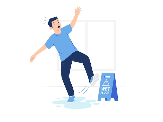 L'uomo scivola cadendo sul pavimento bagnato vicino all'illustrazione di concetto del segno di attenzione