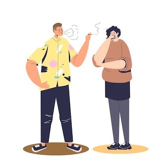 Sigaretta di fumo dell'uomo vicino all'illustrazione di tosse della donna