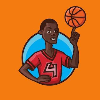 Palla di filatura dell'uomo al dito. concept art di basket in stile cartone animato.