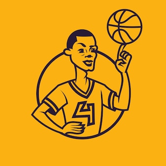 Palla di filatura dell'uomo al dito. concept art di basket in stile monocromatico.