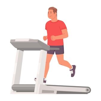 L'uomo in abiti sportivi corre su un tapis roulant su uno sfondo bianco. allenamento cardio. illustrazione vettoriale in stile piatto
