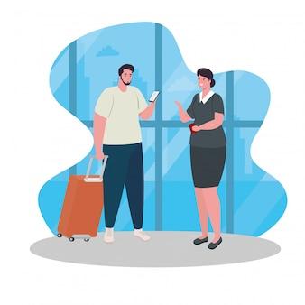 Uomo in piedi per il check-in, al fine di registrarsi per il volo, maschio con bagaglio in attesa della partenza dell'aereo al disegno dell'illustrazione di vettore dell'aeroporto
