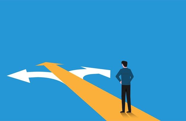 Uomo in piedi sul bivio che ha una decisione migliore per lui illustrazione del concetto