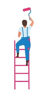 Uomo in piedi sulla scala con rullo di vernice con carattere vettoriale di colore semi piatto
