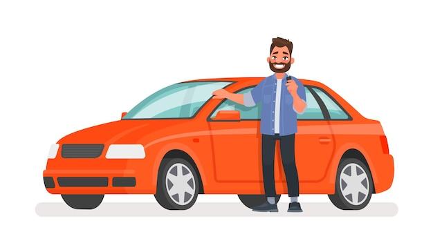 L'uomo sta accanto a una macchina nuova e tiene una chiave in mano. proprietario del veicolo felice su bianco Vettore Premium