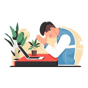 Uomo, stress, lavoro, appartamento, vettore, illustration