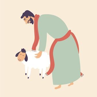 L'uomo accarezza la pecora porta il sacrificio dell'animale domestico adora dio