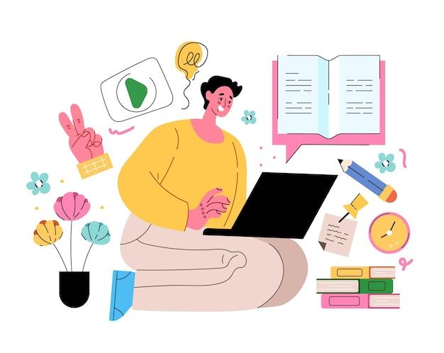 Carattere dello studente dell'uomo che legge il libro e studia online dal computer portatile concetto di educazione di internet illustrazione di stile moderno piatto isolato di vettore