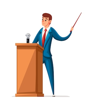 L'uomo in vestito sta alla tribuna di legno con il microfono. fare un discorso. carattere . illustrazione su sfondo bianco.