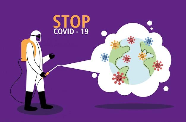 Uomo in tuta al mondo disinfezione di covid-19
