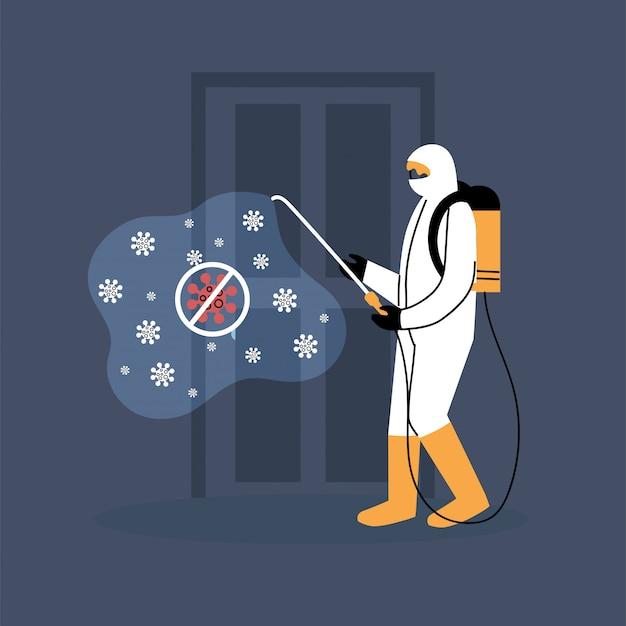 Uomo in abiti che disinfetta la porta di covid 19