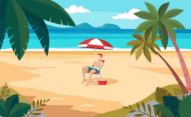 Uomo in vacanza estiva sulla spiaggia deserta e paradisiaca