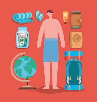 Uomo in costume da bagno e elementi di viaggio