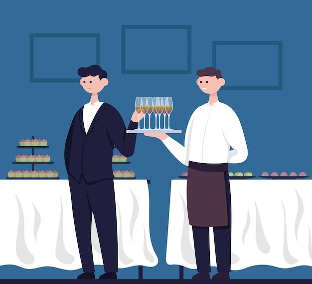 L'uomo prende un bicchiere di champagne da un cameriere con alcol pasto in piedi piatto cartoon vector