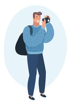 Uomo che scatta foto con il lato della fotocamera digitale
