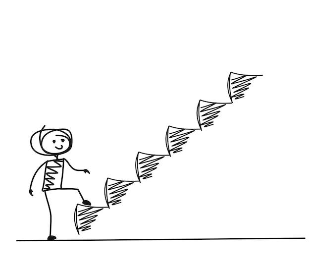 Uomo che fa il passo successivo o successo, fondo di vettore disegnato a mano del fumetto.