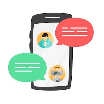 Uomo che parla a un chatbot online su smartphone. comunicazione con un chat bot. servizio clienti e supporto. concetto di intelligenza artificiale. illustrazione