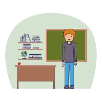 Insegnante uomo in aula con mensola in legno