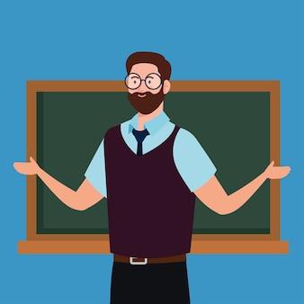Insegnante di uomo con lavagna su sfondo blu