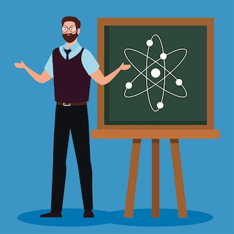 Insegnante dell'uomo con la lavagna in aula