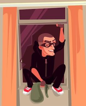 Il personaggio del ladro dell'uomo si arrampica fuori dalla finestra illustrazione del fumetto vettoriale criminale