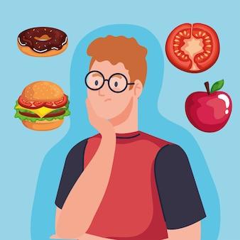Uomo che pensa al design di fast food, al cibo malsano e al tema del ristorante.