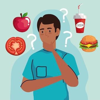 Uomo che pensa con punti interrogativi sul design di fast food, cibo malsano e tema del ristorante.