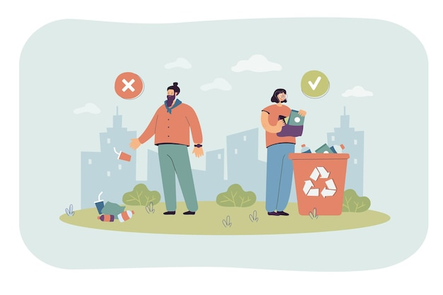 Uomo che getta spazzatura a terra invece di riciclare il contenitore. rifiuti di plastica nell'illustrazione piana di strada