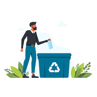 L'uomo getta la bottiglia di plastica nel bidone della spazzatura, segno di riciclaggio dei rifiuti il concetto di prendersi cura dell'ambiente e smistare i rifiuti. riciclare, illustrazione vettoriale di stile di vita ecologico. uomo con cestino per la raccolta differenziata
