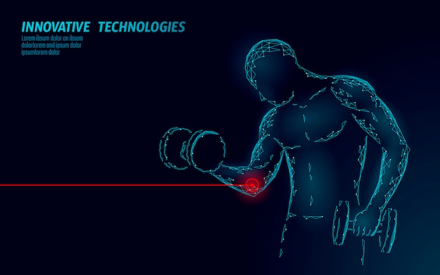 Addestramento dell'uomo con l'infortunio al gomito con manubri concetto poligonale rosso dell'estratto della medicina di sport di area dolorosa. il forte bodybuilding ha ferito il problema di fitness del dolore. illustrazione dello sportivo sanitario