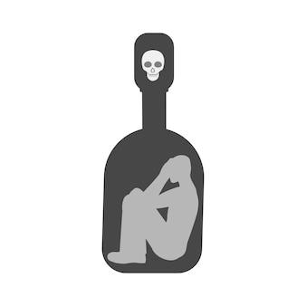 Un uomo intrappolato in una bottiglia di acaogole. propaganda dell'ubriachezza. la morte in una bottiglia di vodka. illustrazione vettoriale.