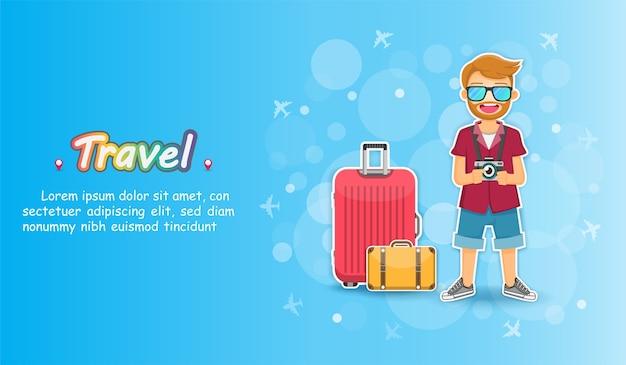 Il viaggiatore dell'uomo viaggia intorno al concetto del mondo Vettore Premium