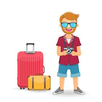 Viaggiatore dell'uomo con l'isolato dei bagagli su fondo bianco. Vettore Premium