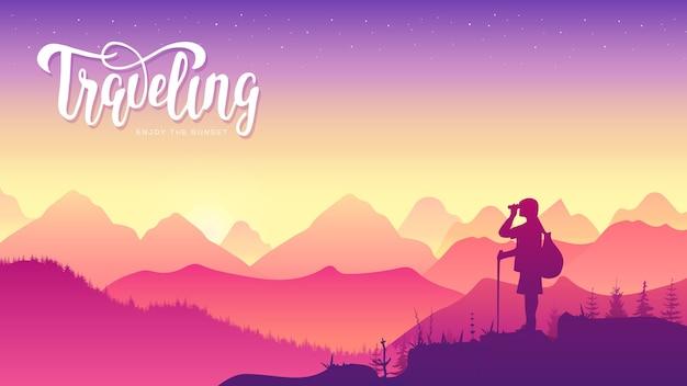 Uomo che viaggia con il concetto di escursionismo zaino.vacanze estive all'aperto da solo nell'illustrazione selvaggia